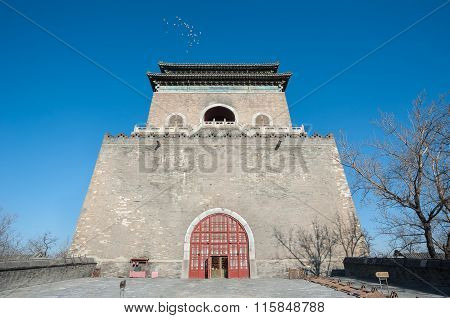 Front View Of Beijing's Ancient Bell Tower