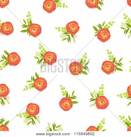 Peachy Ranunculus Flowers And White Background Seamless Vector Print