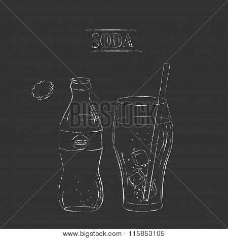 Vector Chalk Sketch Of Soda Bottle And Glass With Straw And Ice Cubes.