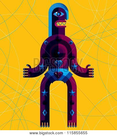 Graphic Vector Illustration, Anthropomorphic Character Isolated On Art Background, Decorative Modern