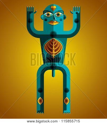 Graphic Vector Illustration, Anthropomorphic Character Isolated On Decorative Art Backdrop, Decorati