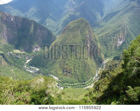 Mount Putucusi At Urubamba Valley Seen From Machu Picchu