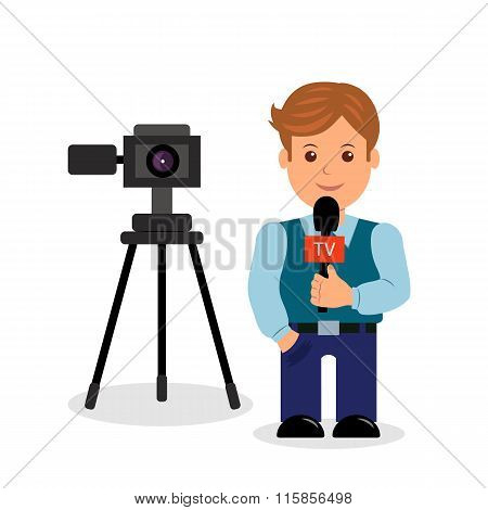 Journalist.  Isolated male character on a white background with a camera and a microphone in her han