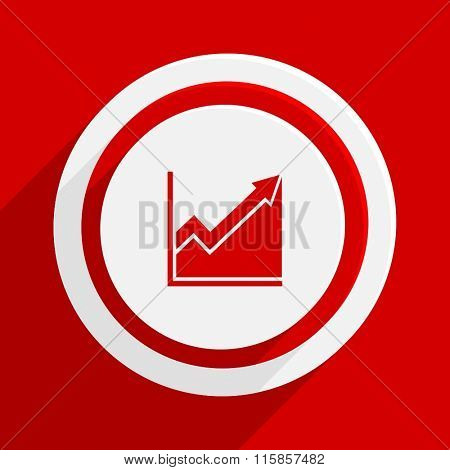 histogram red vector flat icon