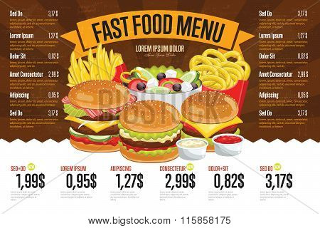 Fast food menu template.
