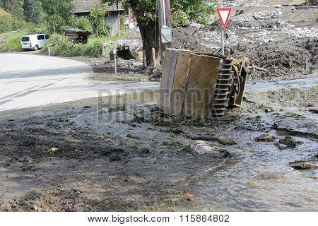 Mudslides Scar The Hillsides Of Austria Following Heavy Rain. Europe Salzburg