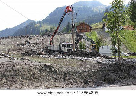Rauris, Mudslides scar the hillsides of austria. Austria - July 25, 2015: