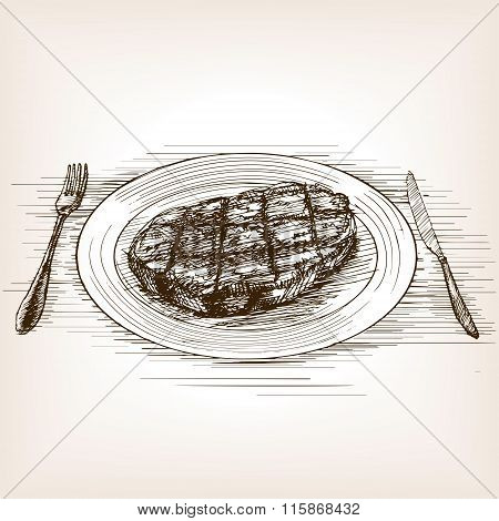 Steak sketch style vector illustration
