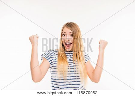 Happy Surprised Girl With Raised Fists