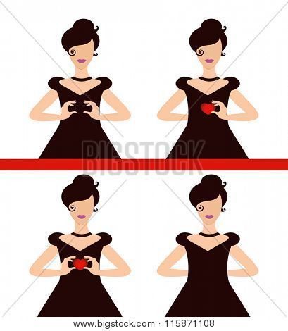 Choice of four poses woman holding, hiding heart  - insert your own input layered