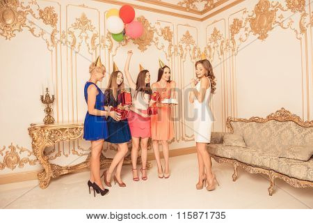 Attractive Young Girls Celebrating Birthday Party With Gifts