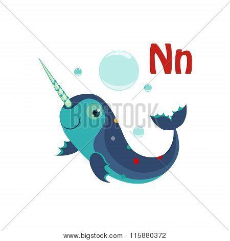 Narwhal. Funny Alphabet, Animal Vector Illustration