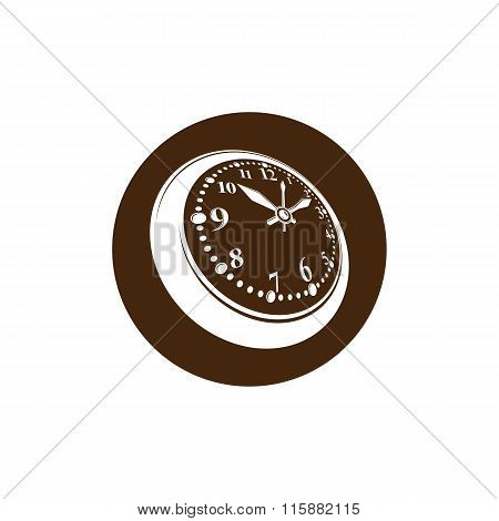 Old-fashioned pocket watch graphic illustration. Simple timer classic stopwatch. Time management symbolic icon. poster