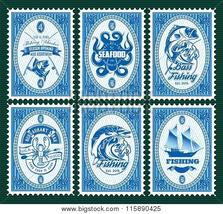 Set Template Of Stamps With Elements Fishing, Seafood