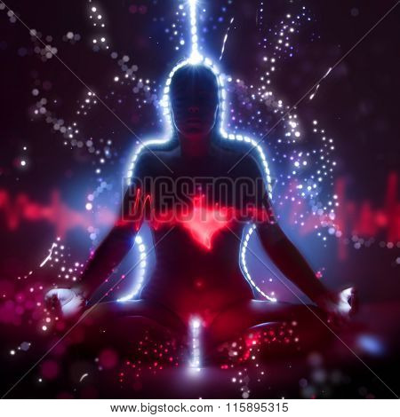 Silhouette Of A Woman In Lotus Meditation Position With Shining Heart Doing Kundalini Yoga