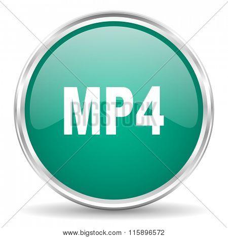 mp4 blue glossy circle web icon