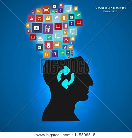 Abstract creative concept vector siluet head of icons. For web and mobile applications isolated on b