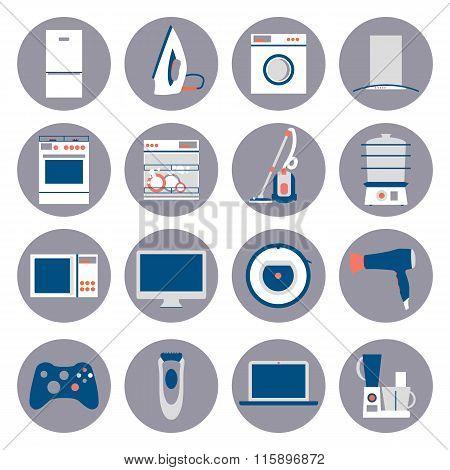 Flat design set icons of home appliances.