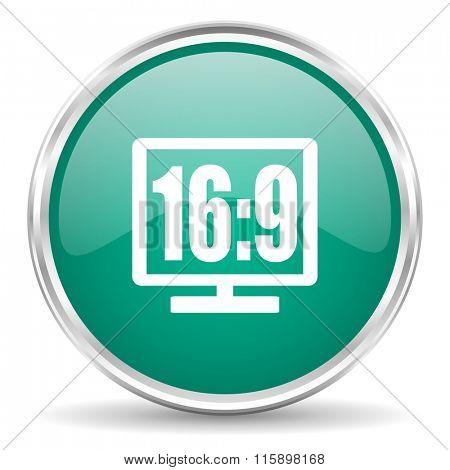 16 9 display blue glossy circle web icon
