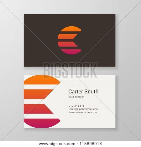 Letter C Stripes Business Card Template