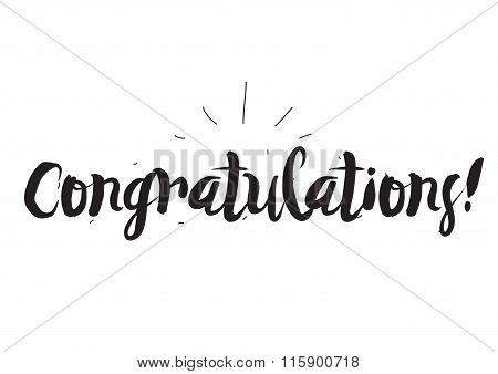 Congratulations. Greeting card with modern calligraphy and hand drawn elements. Isolated typographic