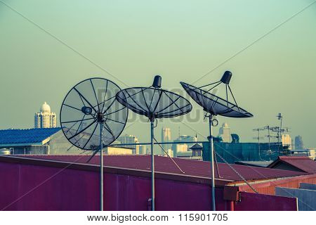 Parabolic Antenna On The Roofs Of Bangkok
