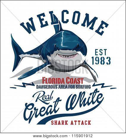Vector Shark Illustration Print
