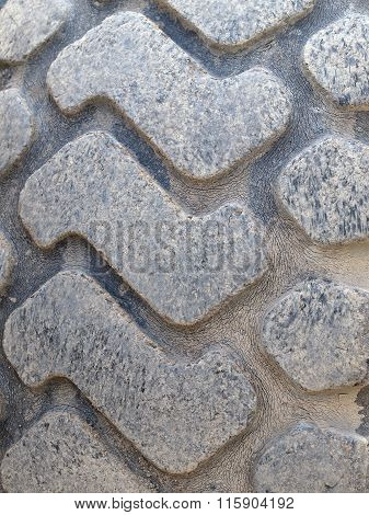 Close Up Of A Construction Vehicles Tires Treads