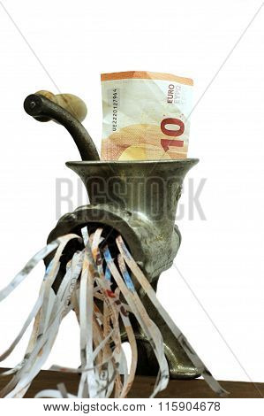 Euro note in a meat grinder