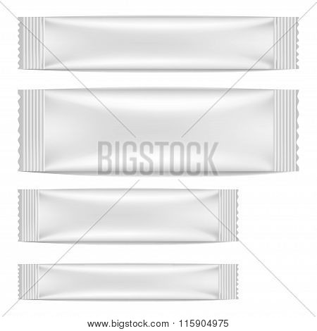 White Blank Foil Packaging Sachet Coffee, Salt, Sugar, Pepper Or Spices Stick Plastic Pack Ready For