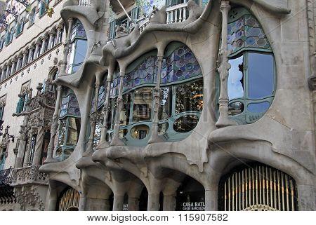Barcelona, Catalonia, Spain - December 13, 2011:  Outdoor View Of Gaudi's House Casa Batllo In Barce