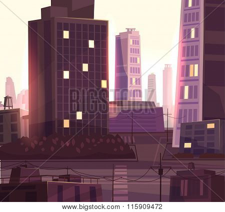 Vector beautiful sunset over cartoon city with highway.