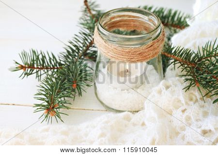 Winter time candle holder