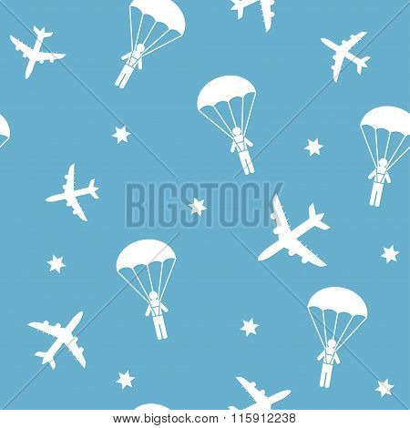 Cartoon Airplane seamless pattern, vector background with parachutists