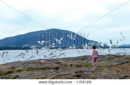 Child At Sea With Birds