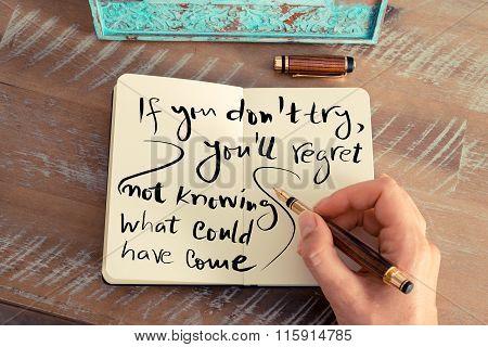 Handwritten Text On Notebook