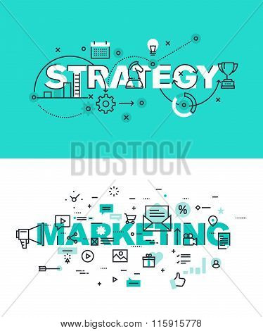 Set of modern vector illustration concepts of words strategy and marketing
