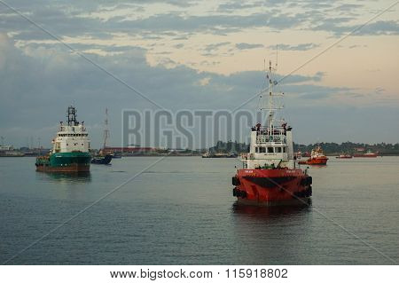 The Supply Vessels At Labuan Sunrise.
