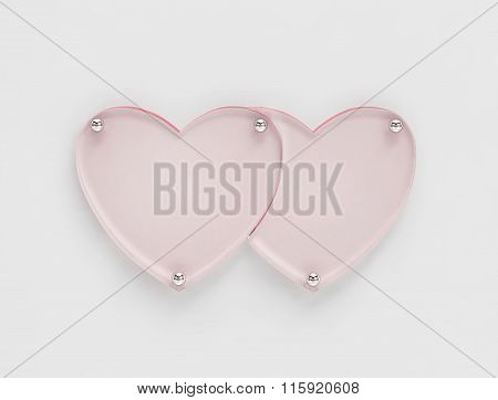 Transparent Glass Board In Shape Of Two Hearts