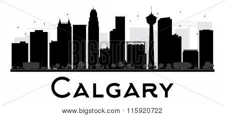 Calgary City skyline black and white silhouette. Vector illustration. Simple flat concept for tourism presentation, banner, placard or web. Business travel concept. Cityscape with famous landmarks