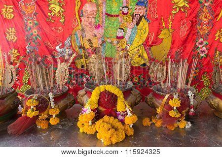 Joss Stick Burn On Th Box At Chinese Shrine