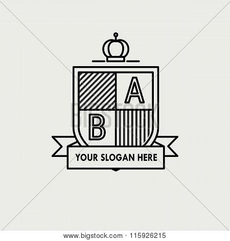 Heraldic sign black line design