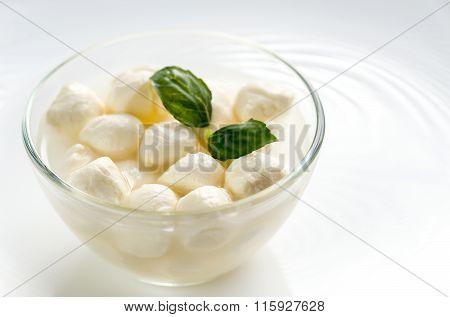 Bowl Of Bocconcini Mozzarella With Fresh Basil