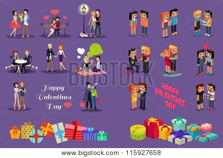 Isometric 3d Family Love Hearts. Valentine Day
