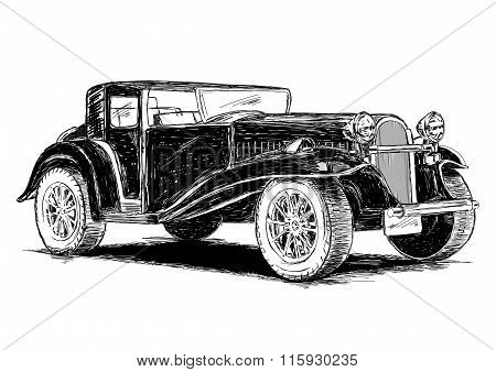 Vintage Retro Classic Old Car Vector Illustration