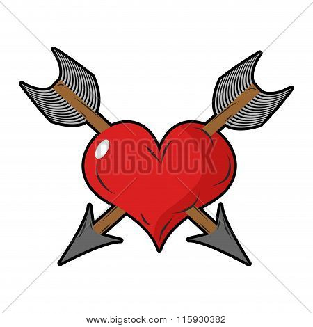 Heart And Arrow. Two Arrows Pierced  Sign Of Love. Love Two People. Symbol Of Unrequited Love. Logo