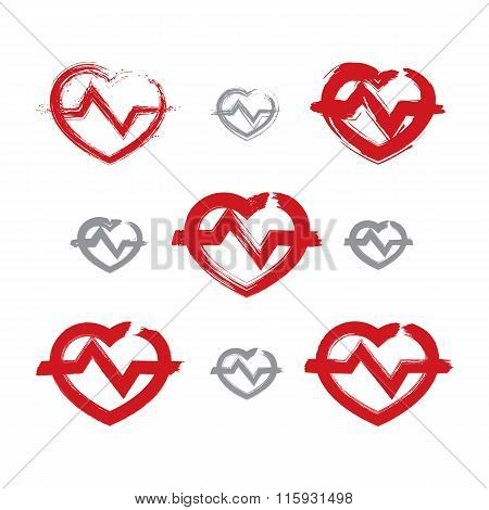 Set Of Hand-drawn Red Heart Icons, Collection Of Brush Drawing Heart Signs With Electrocardiogram