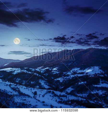 Blue Winter Night In Mountain Village