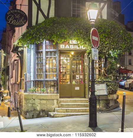 The Restaurant Le Basilic , Montmartre Quarter, Paris, France.