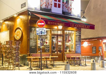 The Restaurant Le Consulat In Evening, Paris, France.